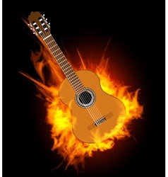 Acoustic guitar in fire flame vector image vector image