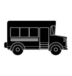 black silhouette school bus with wheels vector image vector image
