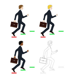 business man holding briefcase running to goal vector image
