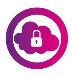 color circular emblem with secure padlock cloud vector image