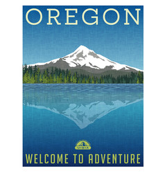 oregon mountains travel poster vector image