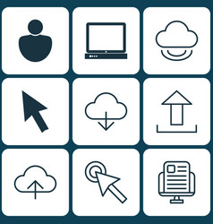 set of 9 world wide web icons includes pc human vector image