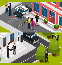special agent isometric banners vector image