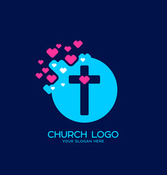 the cross of jesus and the heart vector image
