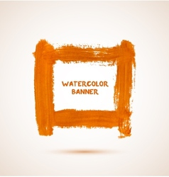 Abstract orange watercolor hand-drawn banner vector image