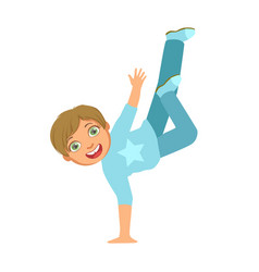 boy in blue dancing breakdance performing on stage vector image vector image