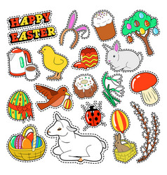 easter decorative elements with rabbit eggs vector image