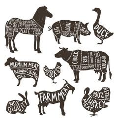 Farm Animals Silhouette Typographics vector image
