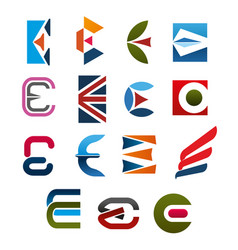 letter e icon font for corporate identity design vector image