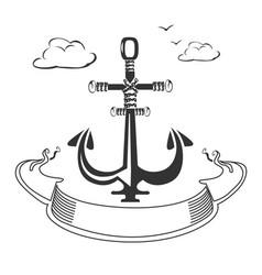 marine emblem with ribbon vector image vector image