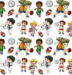 Seamless background with people doing sports vector
