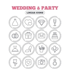 Wedding and party icon Dress diamond and ring vector image vector image