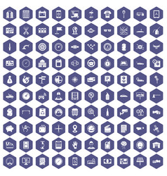 100 auto repair icons hexagon purple vector image