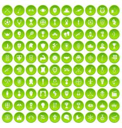 100 tree icons set green circle vector