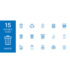 15 waste icons vector image