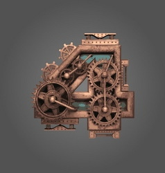 4 rusted letter with gears vector