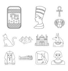 ancient egypt outline icons in set collection for vector image