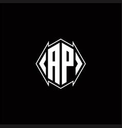 Ap logo monogram with shield shape designs vector