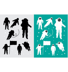 Astronaut in outer space silhouettes vector