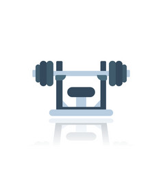 barbell on stand icon vector image