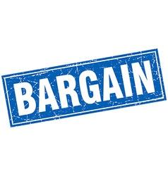 Bargain blue square grunge stamp on white vector