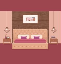 Bedroom interior colorful vector
