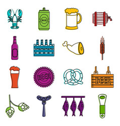beer icons doodle set vector image