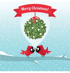 Birds kissing under a branch of mistletoe Christma vector image