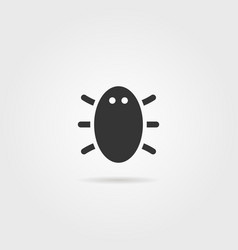 black bug icon with shadow vector image