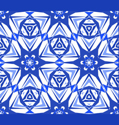 Blue starry flower kaleidoscope pattern vector