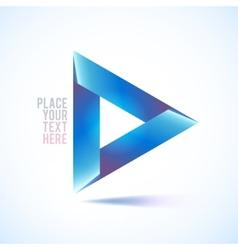 Blue triangle shape on white background vector image
