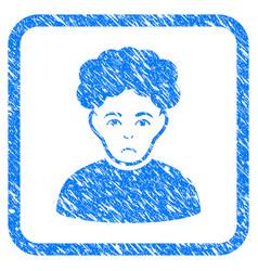 Brunet man framed stamp vector