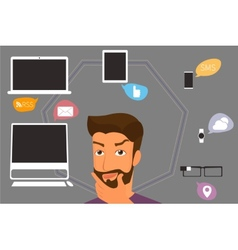 Brunette man thinking about gadgets and vector image