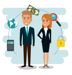 Businesspeople with e-mail marketing icons vector