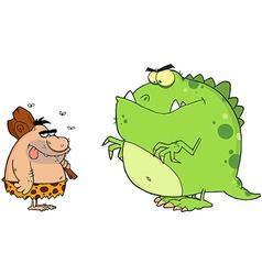 Caveman and angry dinosaur cartoon characters vector