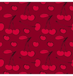 Cherries - seamless pattern vector