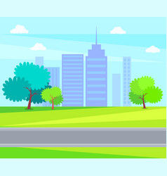 city park green trees on background of skyscrapers vector image