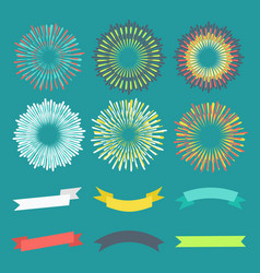 Colorful anniversary banners and fireworks vector