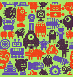 Colorful endless pattern with robots and monsters vector