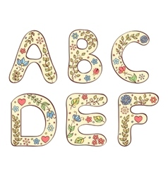 colorful hand drawn letters on white background vector image