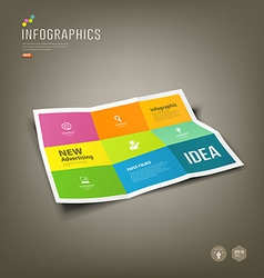 Colorful paper infographics folded 9 fold vector