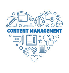 content management blue thin line heart vector image