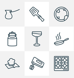 culinary icons line style set with milk can stove vector image