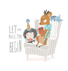 cute deer reading book to a little boy vector image
