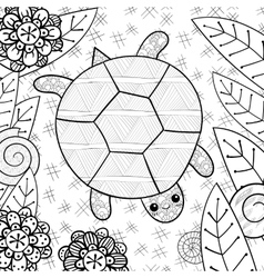 Cute turtle in garden adult coloring book page vector image