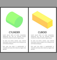 Cylinder and cuboid banner set vector