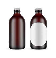 Dark amber glass small beer bottle vector