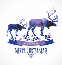 Deers christmas watercolor card vector