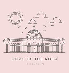 Dome rock al aqsa mosque line art design vector