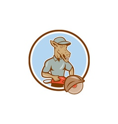 Donkey Concrete Saw Consaw Circle Cartoon vector image